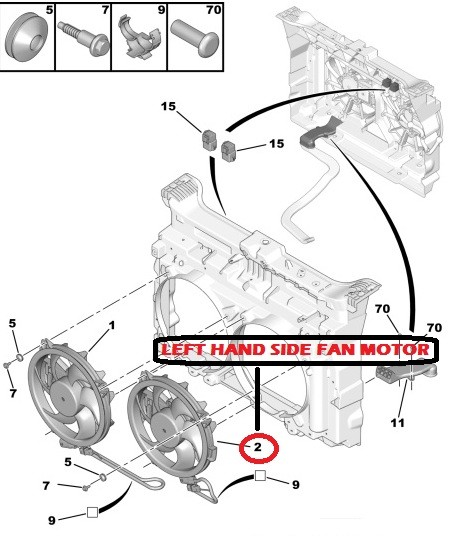 cooling radiator fan motor for peugeot 407 607 807 citroen
